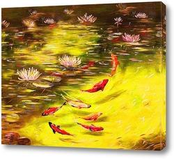 Картина Рыбки кои. Пруд