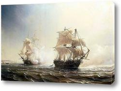 Картина Морской бой между французским и английским фрегатами Эмбускадом