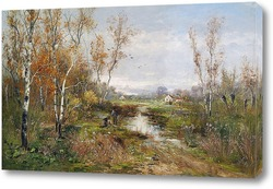 Постер Осенний болотистый пейзаж
