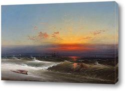 Картина Вечер на берегу моря, 1864