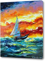 Постер Парусник и шторм в море