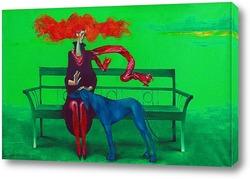 Крсный шарф и голубая собака