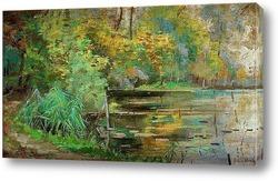Картина Деревья на берегу реки