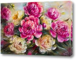Постер Розовые и белые пионы в лучах солнца