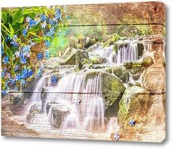 Постер Водопад и синие цветы
