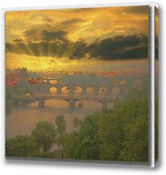 Постер рассвет над Прагой