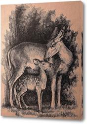Картина Олени - лань с олененком
