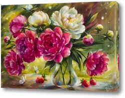Постер Букет розовых и белых пионов в лучах солнца