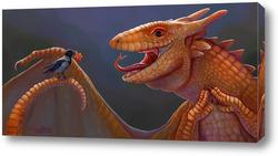 Картина дракон и ворона