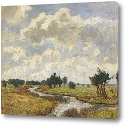 Постер Солнечно-облачное небо через болотистые луга
