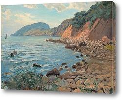 Постер Летний пейзаж на берегу.
