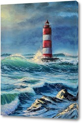 Постер Маяк в бушующем море