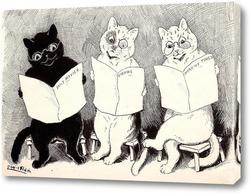 Три кошки, читающие ежедневные газеты