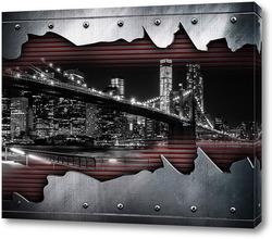 Постер Черно белый город