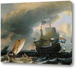 Постер Голландские корабли в шторм близ Амстердама