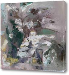 Картина натюрморт с бумажными цветами