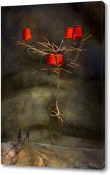 Постер Дерево с красными ведрами над дорогой дальней