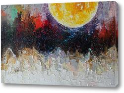 Картина Жёлтая луна над городом