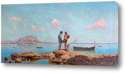 Картина .Дети на рыбалке в заливе Палермо, на фоне горы Пеллегрино