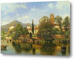Постер Итальянский город на озере