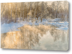 Постер Озеро в зимний мороз