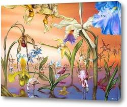 Картина Фламинго в саду орхидей
