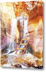 Постер Водопад среди скал