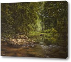 Картина Лесная река