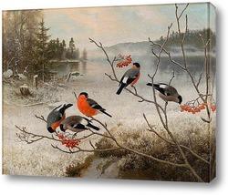Картина Снегири и зимний пейзаж