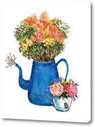 Постер Букет цветов в чайнике, милый букет