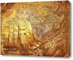 Постер Старая карта и корабль