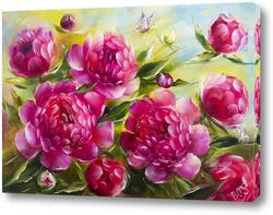 Постер Яркие розовые пионы