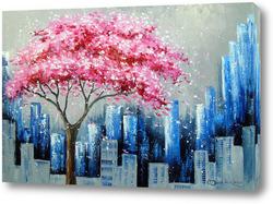 Картина Цветение сакуры в Нью Йорке