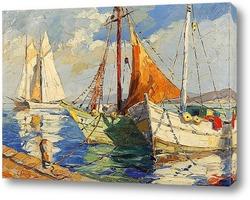 Картина Лодки в гавани Средиземного моря