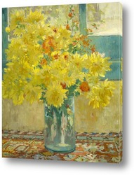 Постер Жёлтые хризантемы