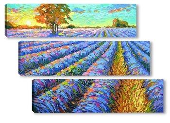 Модульная картина Рассвет и лаванда