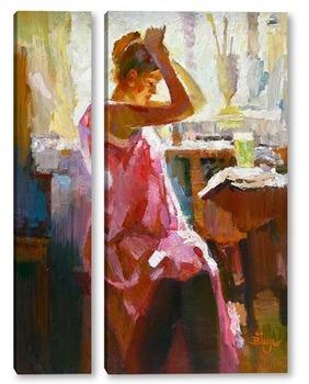 Модульная картина Девушка в розовом