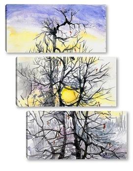 Модульная картина Зимнее солнце