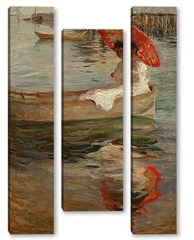 Модульная картина Женщина с Темно-красным Пляжным зонтиком