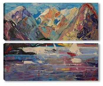 Модульная картина Море в горах