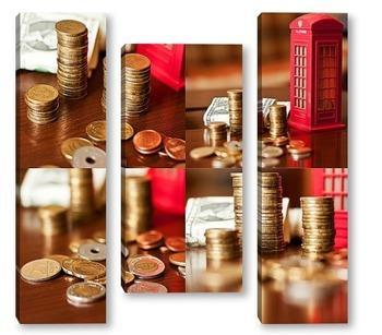 Модульная картина Деньги разных стран мира