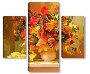 Модульная картина Ноябрьский костёр. Хризантемы