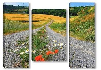 Модульная картина по дороге в лето