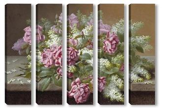 Модульная картина Натюрморт с розовыми розами и сиренью
