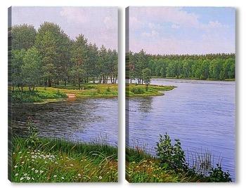 Модульная картина Летний день на Нижнем озере