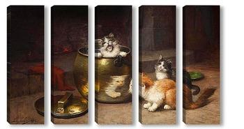 Модульная картина Котята на кухне