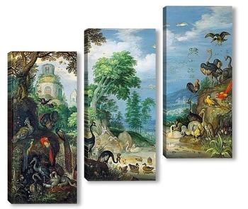 Модульная картина Пейзаж с птицами