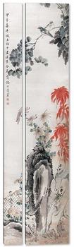 Модульная картина Осенний цвет с двумя птицами