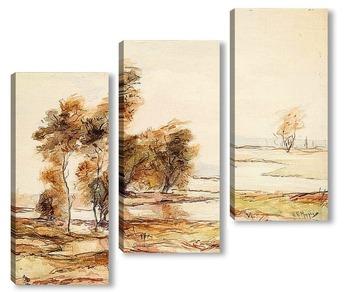 Модульная картина Река и деревья