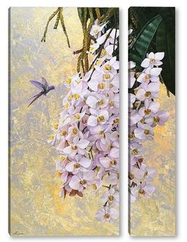 Модульная картина Колибри и орхидеи